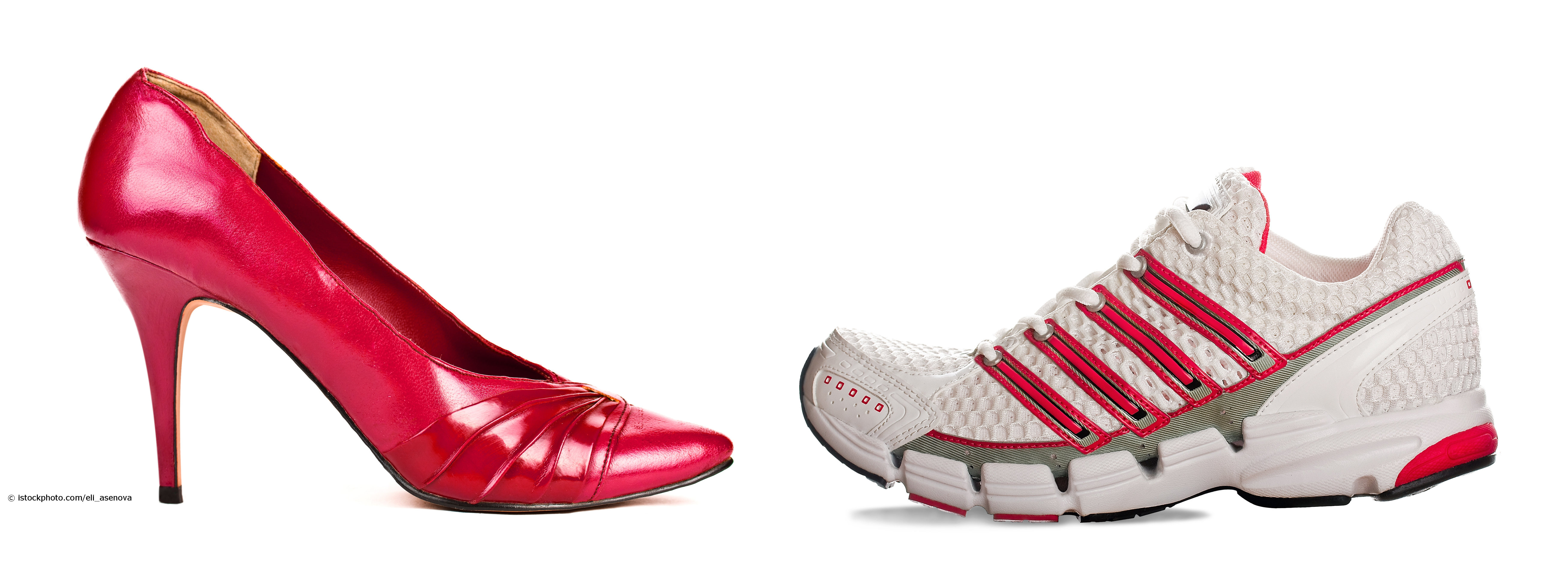 High Heel oder Turnschuh? Zur Verhinderung eines Hallux und für die Fußgesundheit allgemein sollte auf bequemes Schuhwerk zurückgegriffen werden.